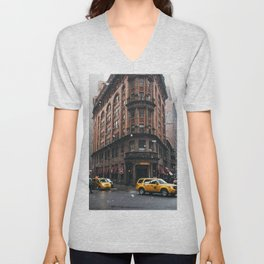 Snow showers in Financial District Unisex V-Neck