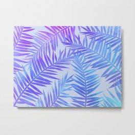 Azur Palm Leaves Metal Print