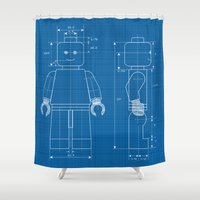 blueprint Shower Curtains featuring Everything is AWESOME  by Alessandro Aru