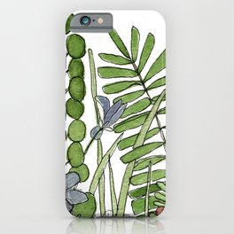 Watercolor Woodland Ferns and Violets Delicate Detailed Nature Art iPhone Case
