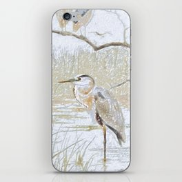 Heron on the nature reserve iPhone Skin