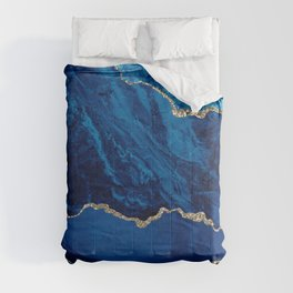 Blue Crushed Velvet Marble With Gold Glitter Veins Comforters
