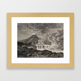 The infinitely great and the infinitely little - Félix Pouchet - 1874 Ink Volcano Illustration Framed Art Print