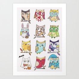 monthly owls Art Print