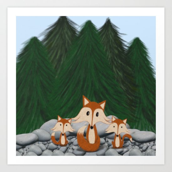 The Fox Family Art Print
