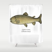 trout Shower Curtains featuring Brown trout by Eugenia Hauss
