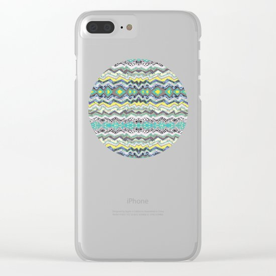 Teal Yellow White Midnight Aztec Clear iPhone Case