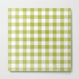 Plaid Pattern 512 Olive Green Metal Print
