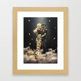 Terra & Beast Boy Framed Art Print
