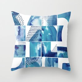 Blue Watercolor Typographical Fragments Cheater Quilt Throw Pillow