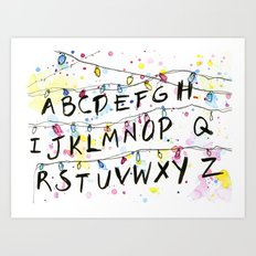 Stranger Things Alphabet Wall Christmas Lights Typography Art Print