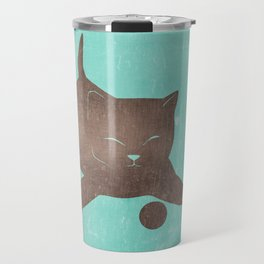 Happy kitten plays with a ball - minimalist illustration Travel Mug