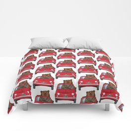 A bear driving a red vintage car Comforters