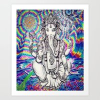 Trippy Rainbow Ganesh Art Print