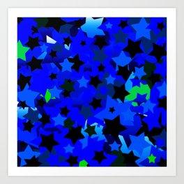 Punk Rock Stars Blue Art Print