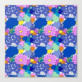 Far-Out 60's Floral in White Canvas Print