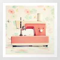 sewing Art Prints featuring Sewing Machine by Caroline Mint