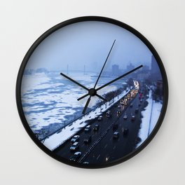 NYC East River Snow Wall Clock