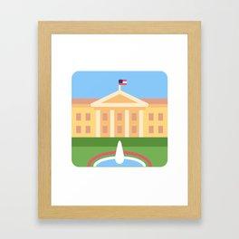 """Trumpation - White """"Golden"""" House Framed Art Print"""