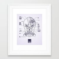 blueprint Framed Art Prints featuring Blueprint by CromMorc