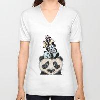 pandas V-neck T-shirts featuring pandas by Svenningsenmoller Design