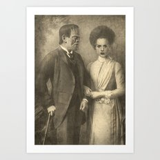 Mr. and Mrs. Frankenstein  Art Print
