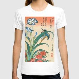12,000pixel-500dpi - Katsushika Hokusai - Kingfisher With Irises And Red Pinks - Digital Remaster T-shirt