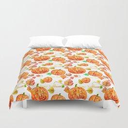 Watercolor Halloween Pumpkin Pattern Duvet Cover