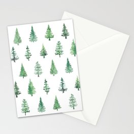 Watercolor abstract pine trees Stationery Cards