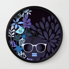 Afro Diva : Lavender Periwinkle Wall Clock