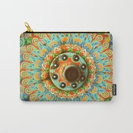 Rainbow Painted Cart Wheel Mandala Carry-All Pouch