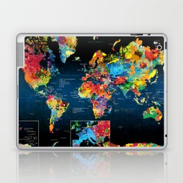 World Map Black - 2 Laptop & iPad Skin