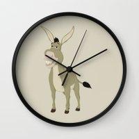 donkey Wall Clocks featuring Donkey by Citron Vert