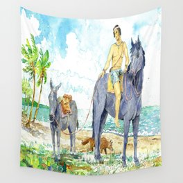 TITAL AND HIS HORSE Wall Tapestry