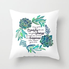 Succulent Wreath with Irish Blessing Throw Pillow