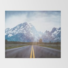 Mountain Road - Grand Tetons Nature Landscape Photography Throw Blanket