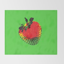 Strawberry Green - Posterized Throw Blanket