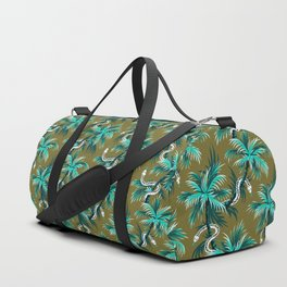 Snake Palms - Light Teal Mustard Duffle Bag