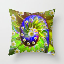 ULTRA VIOLET GREEN GARDEN  SPIRAL &  DAFFODILS ART Throw Pillow