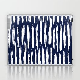 Vertical Dash White on Navy Blue Paint Stripes Laptop & iPad Skin