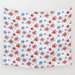 Blue and Red Floral Wall Tapestry