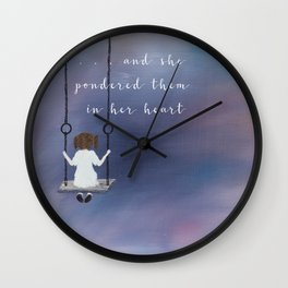 Pondered them in her heart Wall Clock