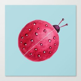 Spherical Abstract Watercolor Ladybug Canvas Print