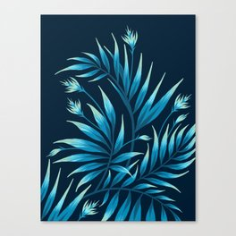Waikiki Palm - Petrol Blue Canvas Print