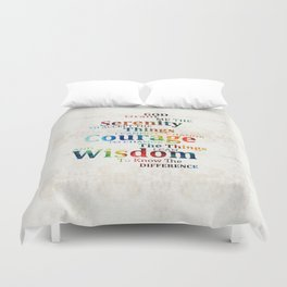 Colorful Serenity Prayer by Sharon Cummings Duvet Cover