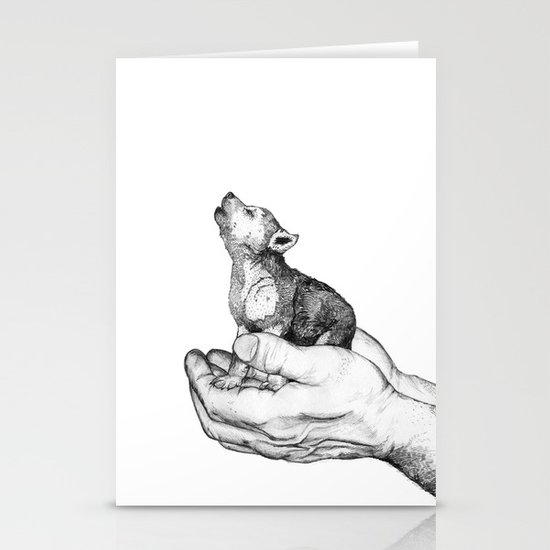 Wolf Cub // Graphite Stationery Cards