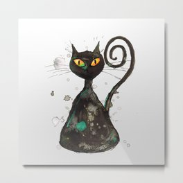 Black cat with orange eyes Metal Print