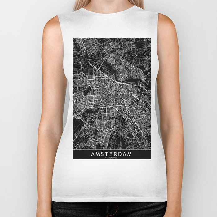 Amsterdam Black Map Biker Tank