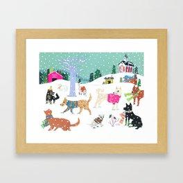 Winter Jindos Framed Art Print