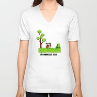 gameboy V-neck T-shirts featuring Gameboy by Janismarika